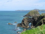 View from coast path, Abercastle to Trefin, with Strumble Head in the distance